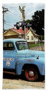 Route 66 - Gas Station With Watercolor Effect Beach Towel by Frank Romeo