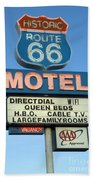 Route 66 Motel Sign 3 Beach Towel