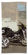 Route 66 Motorcycles With A Dry Brush Effect Beach Towel