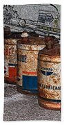 Route 66 Odell Il Gas Station Oil Cans Digital Art Beach Towel