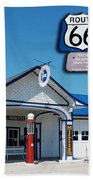 Route 66 Odell Il Gas Station Signage 01 Beach Towel