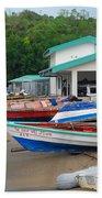 Row Boats On Beach Beach Towel