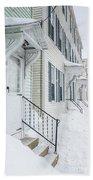 Row Houses On A Snowy Day Beach Towel