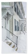 Row Houses On A Snowy Day Beach Towel