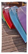 Row Of Colorful Boats Art Prints Beach Towel
