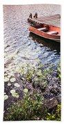 Rowboat At Lake Shore At Sunrise Beach Sheet