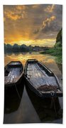 Rowboats On The River Beach Towel