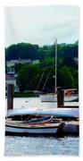 Rowboats Piled At Dock Beach Towel