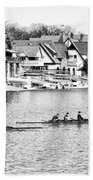 Rowing Along The Schuylkill River In Black And White Beach Towel