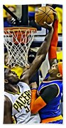 Roy Hibbert Vs Carmelo Anthony Beach Towel by Florian Rodarte