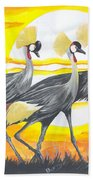 Royal Cranes From Rwanda Beach Towel