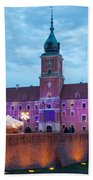 Royal Palace In The Old Town Of Warsaw Beach Towel