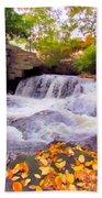 Royal River White Waterfall Beach Towel