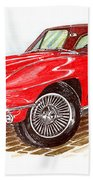 Ruby Red 1966 Corvette Stingray Fastback Beach Towel