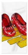 Ruby Slippers The Wizard Of Oz  Beach Towel by Irina Sztukowski