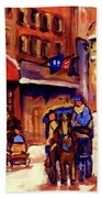 Rue St. Paul Old Montreal Streetscene In Winter Beach Towel