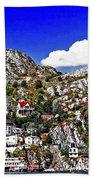 Rugged Cliffside Village Digital Painting Beach Towel