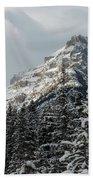 Rugged Mountain Peak With Snow Beach Towel