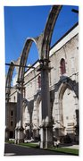 Ruins Of Carmo Convent In Lisbon Beach Towel