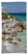 Ruins Of Mayan Temple Beach Towel