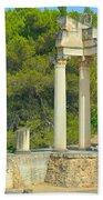 Ruins Of Roman Columns In Glanum  Beach Towel