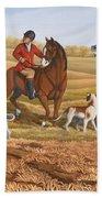 Run Fox Run Hunting Painting Commission Beach Towel