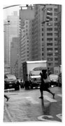 Running In The Rain - New York City Street Scene Beach Towel