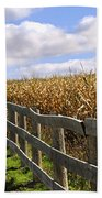 Rural Landscape With Fence Beach Towel