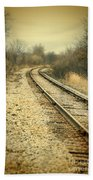 Rural Railroad Tracks Beach Towel