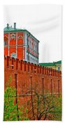 Russian Orthodox Church From Park Outside The Kremlin In Moscow-russia Beach Towel