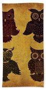 Rustic Aged 4 Owls Beach Towel