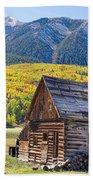 Rustic Rural Colorado Cabin Autumn Landscape Beach Towel