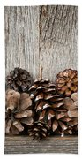 Rustic Wood With Pine Cones Beach Towel