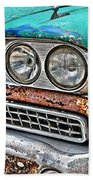 Rusty 1959 Ford Station Wagon - Front Detail Beach Towel
