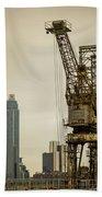 Rusty Cranes At Battersea Power Station Beach Sheet