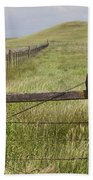 Rusty Keep Out Sign On Fence - California Usa Beach Towel