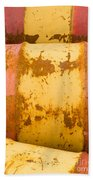 Rusty Oil Barrels Yellow Red Background Pattern Beach Towel
