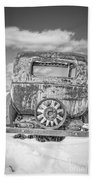 Rusty Old Car In The Snow Beach Towel