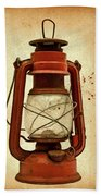 Rusty Old Lantern On Aged Textured Background E59 Beach Towel