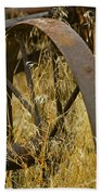 Rusty Old Wheel And Yellow Grasses Beach Towel