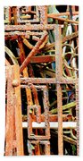 Rusty Railings Square Beach Towel
