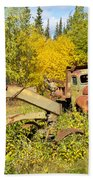Rusty Truck And Grader Forgotten In Fall Forest Beach Towel