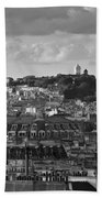 Sacre Coeur Over Rooftops Black And White Version Beach Sheet