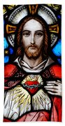 Sacred Heart Of Jesus In Stained Glass Beach Towel