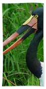 Saddle Billed Stork-00139 Beach Towel