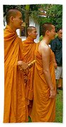 Saffron-robed Monks At Buddhist University In Chiang Mai-thailand Beach Towel