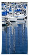 Sail Boats Docked In Marina Beach Towel
