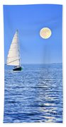 Sailboat At Full Moon Beach Towel by Elena Elisseeva