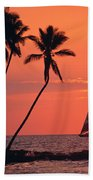 Sailboat At Sunset Beach Towel