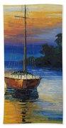 Sailboat At Sunset Beach Towel